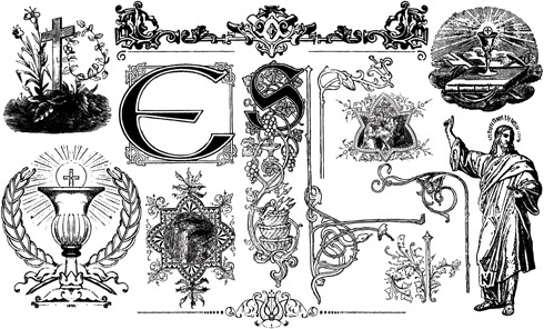 classical ornaments elements vector