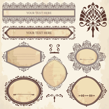 classical ornaments frames vintage style vector set
