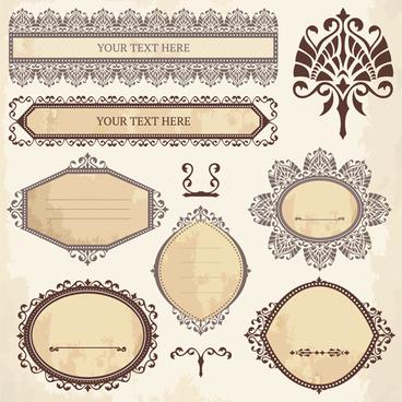classical ornaments frames vintage style vector set