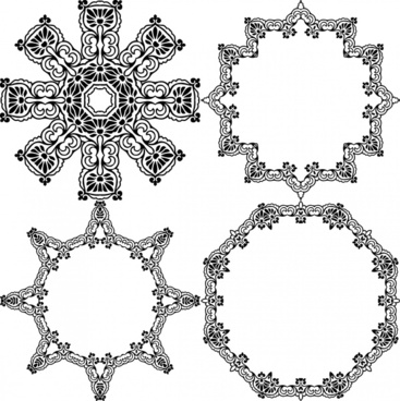classical pattern frames design with various shapes illustration