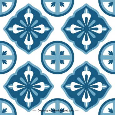 classical pattern template flat blue symmetrical repeating decor