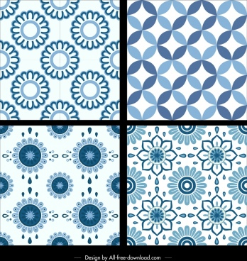 classical pattern templates blue repeating flowers decor