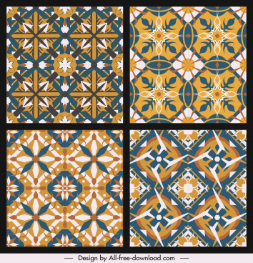 classical pattern templates colorful symmetric repeating geometric shapes
