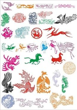 oriental legend animals icons colored classical design