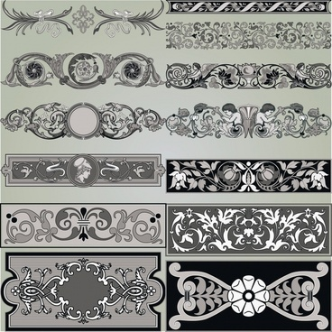 formal decorative elements templates retro european symmetric shapes