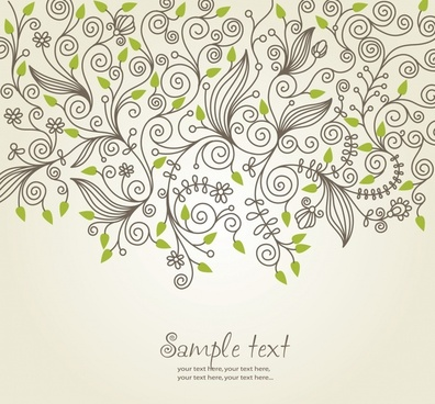 flower background template flat handdrawn seamless sketch