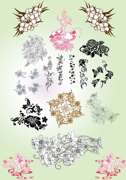 flowers design elements oriental classical ink sketch