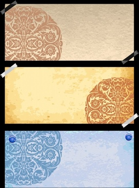 decorative pattern templates colored vintage oriental paper design