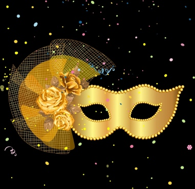 classical stage background golden mask rose icons decor