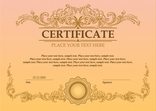 classical styles certificate template vectors