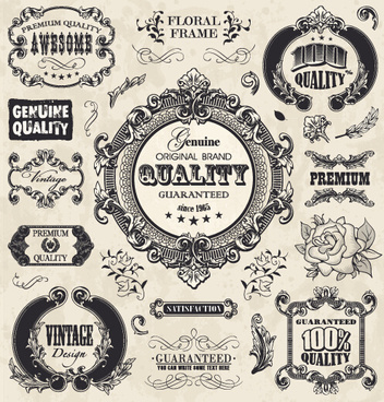 classical styles ornaments labels vector