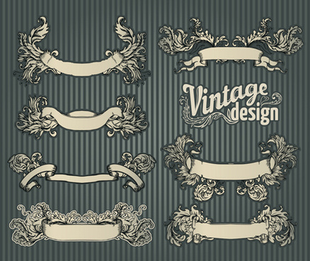 classical styles ribbons vector set