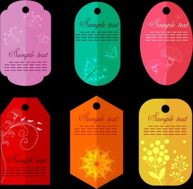 classical tags collection various colorful vertical shapes