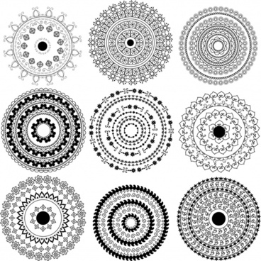 circles pattern templates black white classical seamless design