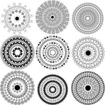 circles pattern templates black white classical seamless design