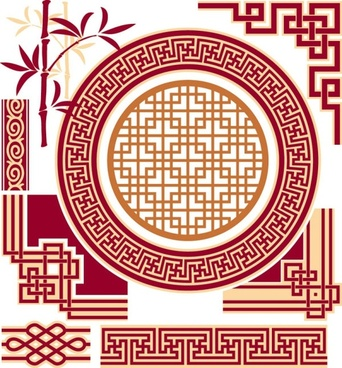 classical window grilles pattern 01 vector