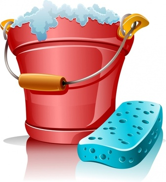 cleaning utensils icons shiny colored 3d bucket foam