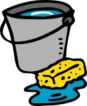 Cleaning Bucket Sponge Water clip art