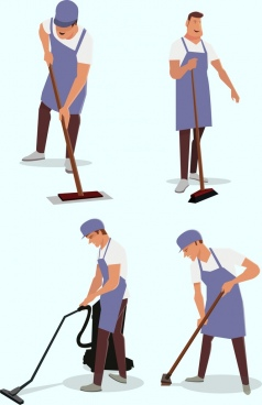 cleaning man icons colored cartoon characters
