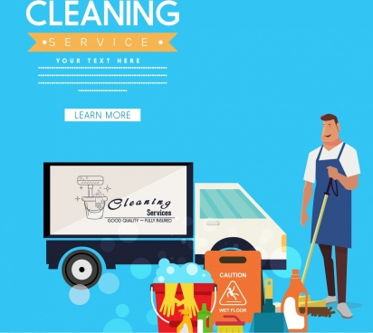 cleaning service advertisement male truck icons webpage style
