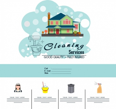cleaning service advertisement template household icons decor
