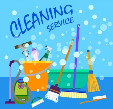 cleaning service advertisement various colored tools decoration