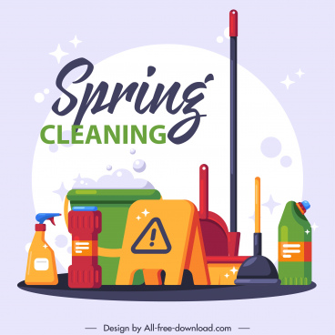 cleaning service advertising banner colorful flat emblems sketch