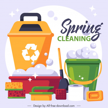 cleaning service banner colorful flat tools sketch