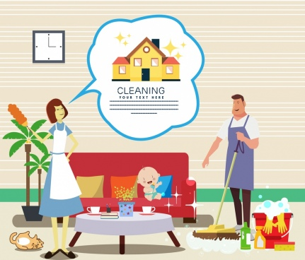 cleaning service banner family member icons colored cartoon