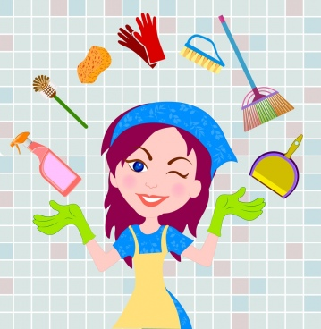 cleaning service design element woman icon tools decoration