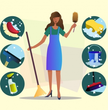 cleaning service design elements woman tools icons decor