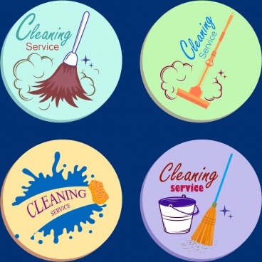 cleaning service design elementsvarious tools circle isolation