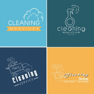 cleaning service logotypes isolation flat symbols sketch
