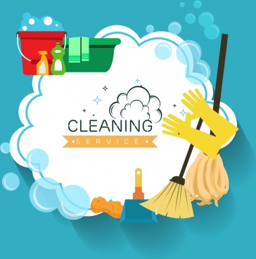 cleaning service poster housework tools icons decoration