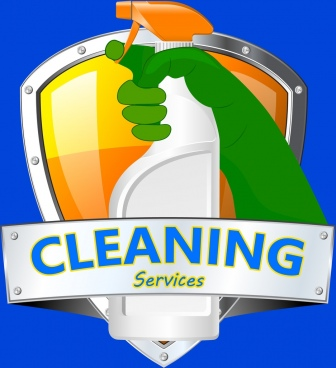 cleaning services advertising hand spayer shield icon ornament