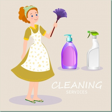 cleaning services advertising housewife icon cleaning tools decor