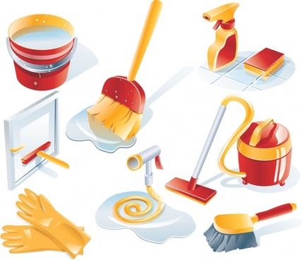 cleaning tools icons colored 3d design