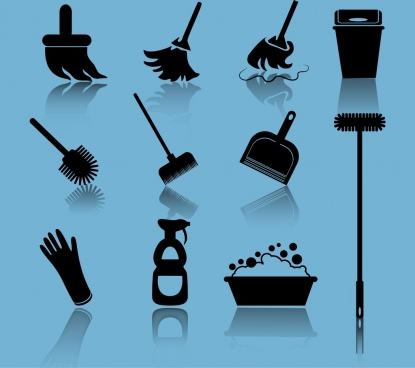 cleaning tools icons collection 3d black silhouettes design