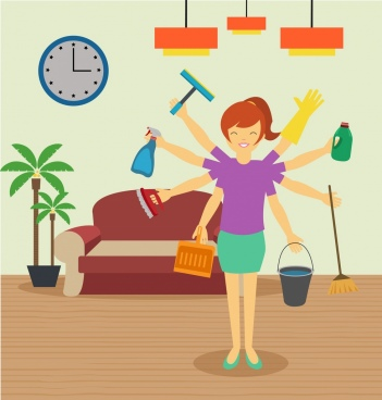 cleaning work background female icons multitasking style