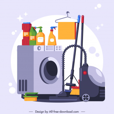 cleaning work banner washing tools sketch colorful flat
