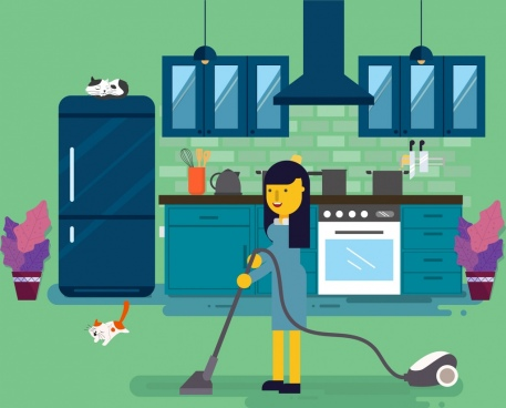 cleaning work drawing woman vacuum cleaner icons