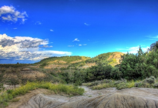 clear skies over the mounds at theodore roosevelt national park north dakota