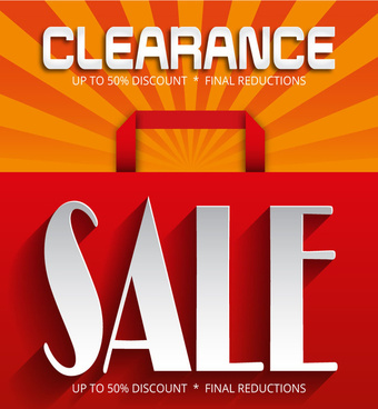clearance sale with shopping bag on rays background