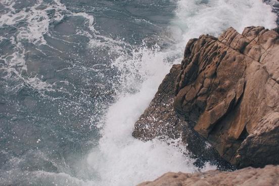 cliff down ocean rock sea stone water wave