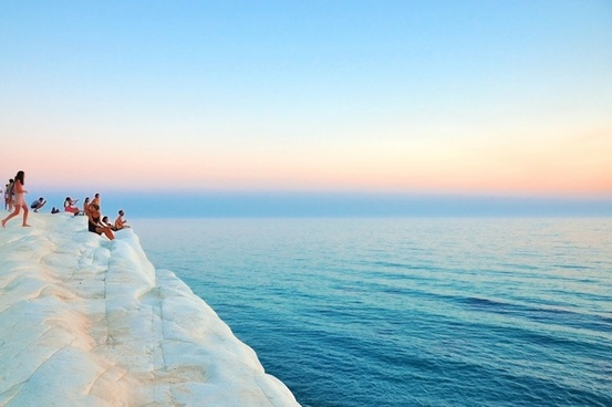 cliff holiday horizon looking ocean people ripple