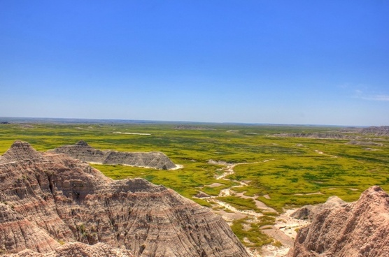 cliffs over the prairie at badlands national park south dakota