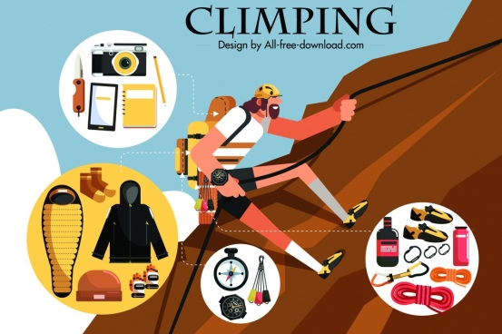 climbing advertising banner climber personal accessories icons
