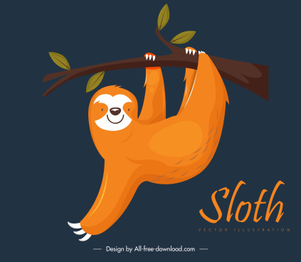 climbing sloth painting dark classic design cartoon character