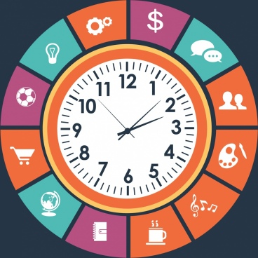 clock background colored ui isolation classical design