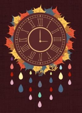 clock background colorful vintage style autumn leaves decor